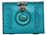 #4: Pranjals house Pure Genuine Real Vintage Leather Handmadepaper Notebook Dairy For office Home to Write Poem Daily Update with matel Lock -Ocean Blue Size of 5x7 inch