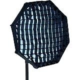 Ishoot pliable 60cm octogonale pour fixation Bowens pour flash Studio Bol Beauté Réflecteur de lumière stroboscopique à lumière Diffuseur monobloc avec chiffon Grille nid d'abeille
