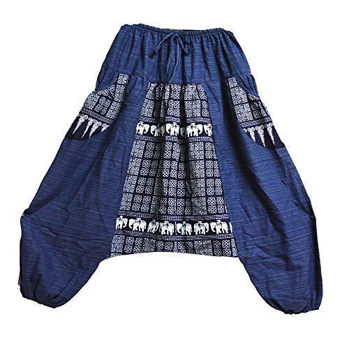 Mr.Bangkok Hombres Mujeres Pantalones de algodón 100% Rayas Harem Pantalones de Yoga Genie Baggy (2 Tonos Elefante Azul Marino)
