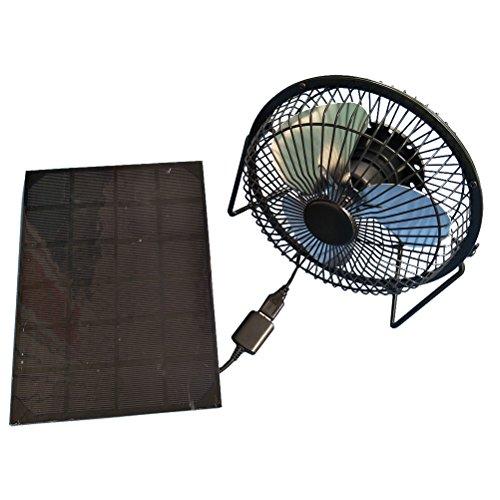 Preisvergleich Produktbild LEDMOMO Solarbetriebener Ventilator USB-Schreibtisch-Ventilator Tragbarer Solarkühlventilator für Schuppen-Ausgangshaus-Gewächshaus