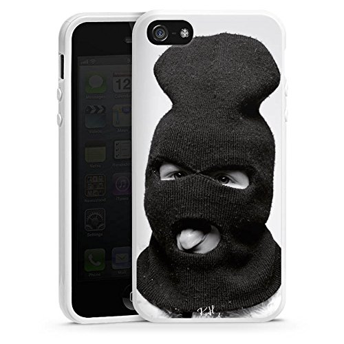 Apple iPhone 4 Housse Étui Silicone Coque Protection Oliver Rath Masque Hipster Housse en silicone blanc
