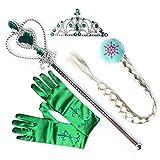 Kidslove Prinzessin Karneval Handschuhe Mädchen Party Cosplay Handschuhe Zauberstab Zopf Krone (Grün)