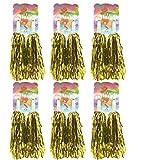 1 Dutzend Prämie Cheerleading Pom Poms, Creatiees 12 Stücke Hand Blumen Cheerleader Pompons zum Sport Prost Ball Tanz Verrücktes Kleid Nacht Party (Gold)