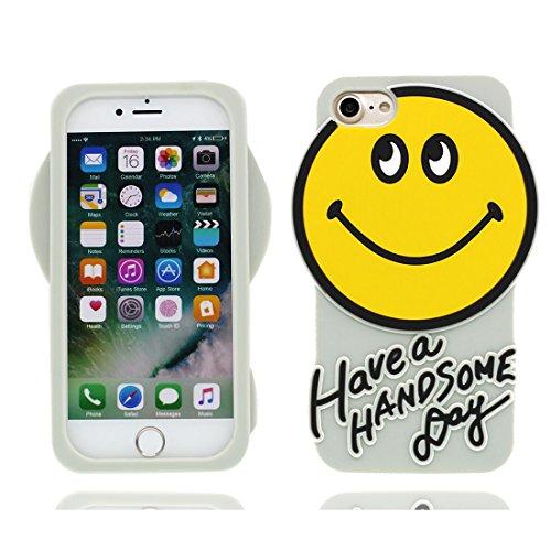 iPhone 7 Custodia, iPhone 7 Copertura Disegno morbido flessibile + durevole di modello del fumetto di TPU carino Case Cover per Apple iPhone 7 (bianca + Sorriso Smile Face) bianca