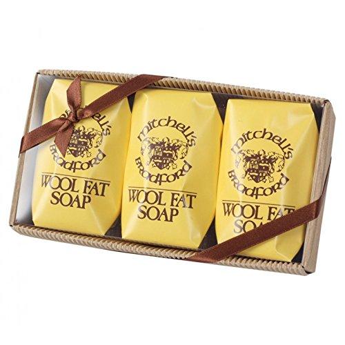 Mitchell's Wool Fat Soap Original Lanolin Bath Soap Set (3 x 150g Bars in Clear Box)