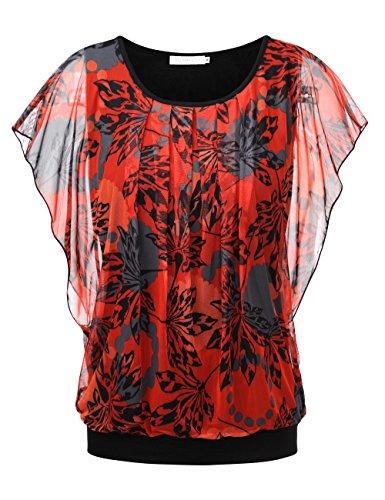 BaiShengGT Damen Falten Kurzarm Tunika Batwing Rundkragen Bluse Rot-Blatt XX-Large (Rundhals-bluse)
