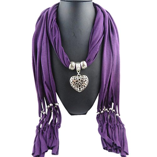 Tonwalk Women Winter Scarf with Tassel Warm Hollow Peach Heart Pendant (Purple)