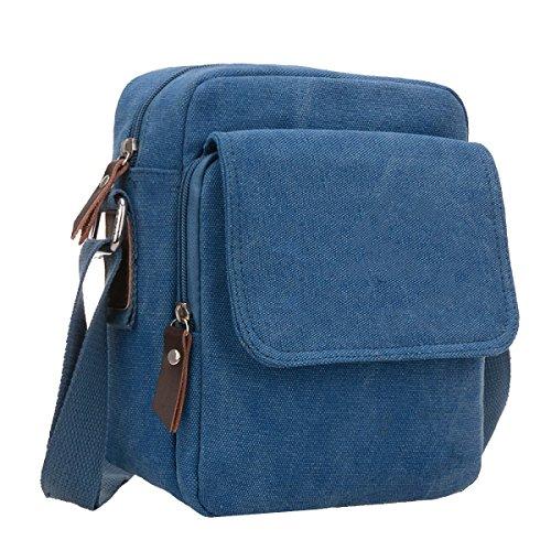 Yy.f Neue Männer Segeltuchschulterbeutel Kleine Tasche Lässig Und Einfach Männer Umhängetasche Mannbeutel über Den Beutel Normallack-Paket Blue