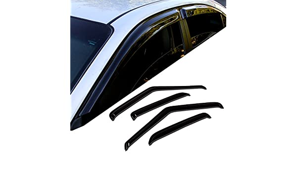 TuningPros WD-508 Tinted Smoke Out-Channel Window Visor Deflector Rain Guard 4-pc Set