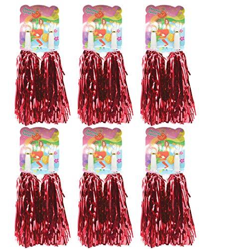 1 Dutzend Prämie Cheerleading Pom Poms, Creatiees 12 Stücke Hand Blumen Cheerleader Pompons zum Sport Prost Ball Tanz Verrücktes Kleid Nacht Party (Rot)