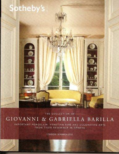 Collection G & G BARILLA- Céramiques Porcelaines Fines, Meubles Italiens Arts décoratifs de Venise ...Sotheby's London Vente du 14/03/2012 par Sotheby's London