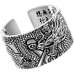 Beydodo Bague Argent 925 Celtique Homme Taille 56.5 Bague D'Ouverture Bague Dragon Chinois Bague Dragon Homme