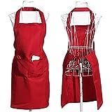 SODIAL(R) Llanura delantal bolsillo delantero para Carnicerias Cocineros Cocina Cocinar Artesania Hornear Camarero - Rojo