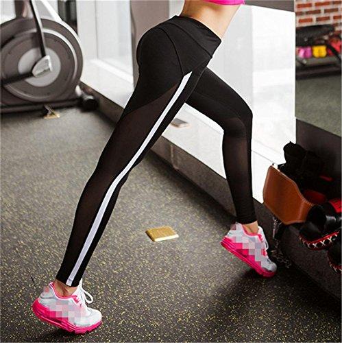 Femme pantalon couture de yoga / fitness pantalon stretch serré / pantalon de jogging Black