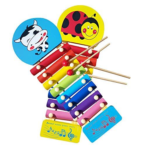 Xylophon Baby Spielzeug Holz Mini Percussion Musikinstrumente Spielzeug Cartoon Kuh Regenbogen 8-Note Xylophon mit Mallet Entwickeln Auditorium Montessori Pädagogisches Lernspielzeug für Kinder Kinder