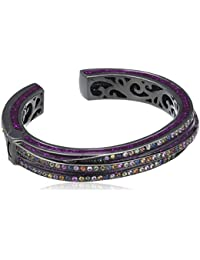 Matthew Campbell Laurenza Silver Purple Glitter Bangle Set with 7.8ct of Sapphires in Black Rhodium Plating