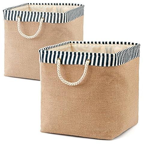 EZOWare Set of 2 Foldable Burlap Laundry Basket ( 36 x 37 x 36 cm ) Storage Bin Bag for Clothes, Towels, Books, Children Toys, DVDs, CDs – Blue / White ( Medium