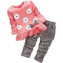 SMARTLADY Bebé Niña Flores Bowknot Blusa Tops Manga Larga + Pantalones Largos a Cuadros Ropa conjunto