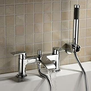 Alfred Victoria Modern Bath Shower Brass Mixer with Shower Kit SB04 - Chrome Finish