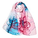 Xmiral Damen Schal Mode Blumendrucken lange weiche Wrap Elegante glamouröse Schal Schal Schals(Rosa)