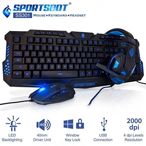 SportsBot SS301 Blaue LED-Gaming-Over-Ear-Headset-Kopfhörer, Tastatur Maus Combo-Set