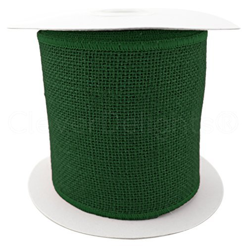 cleverdelights 10,2cm Juteband, verdrahtet/fertigen Kanten-10Meter-Grün-superfeiner Weave (Garland Chevron)