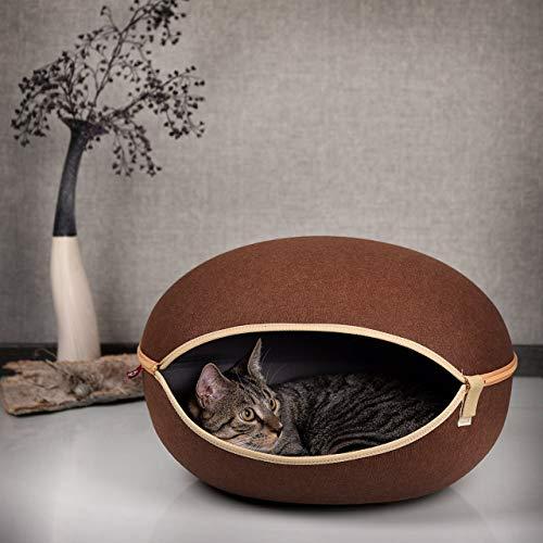 CanadianCat Company ® | Katzenbett mit Filz, Katzenhöhle in braun, die Kuschelhöhle mit Stil