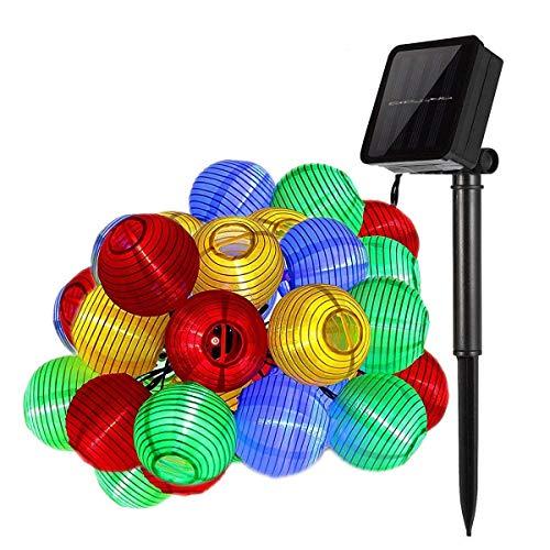 Lichterkette außen,DeepDream Solar Lichterkette bunt Lampion Lantern 6 -