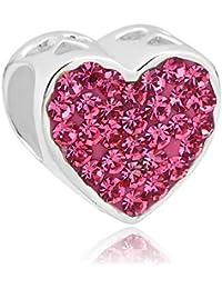 uniqueen Bijoux Charms argent sterling 925Inscription I love you Cœur en cristal rose perle pour bracelet type Pandora/Troll/Chamilia