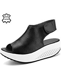 Hishoes - Zapatillas de malla para mujer, color negro, talla 44 EU / China Size 45