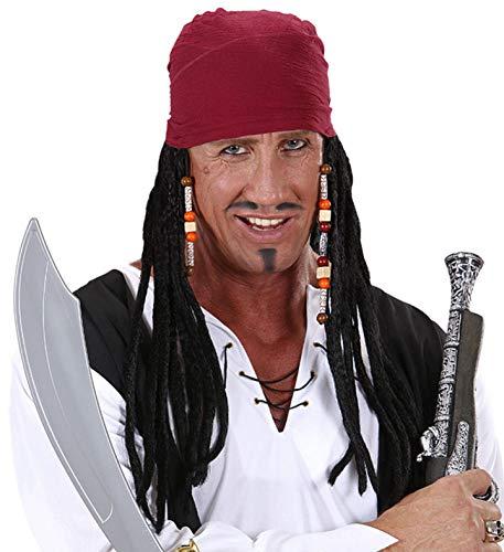 Piraten Perücke mit Stirnband | Perücke mit Perlen Schmuck | ideal für Karneval, Fasching & Halloween (Karibik Piraten Perücke Mit Perlen)