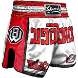8 WEAPONS Muay Thai Shorts, Carbon, weiß-rot L