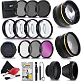72MM Professional Lens & Filters Accessories Bundle Kit For DSLR Cameras - Includes: 72mm Wide Angle & Telephoto Lenses, Filters (UV, FLD, CPL, ND, Close-up Macro) Lens Cap + Cleaning Kit