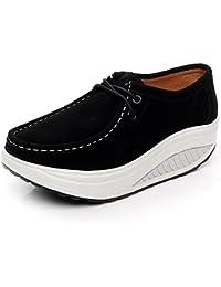 Shenn Hombre Británico Diseño Ponerse Bajo Top Vestir Cuero Zapatos (Marrón,EU42)