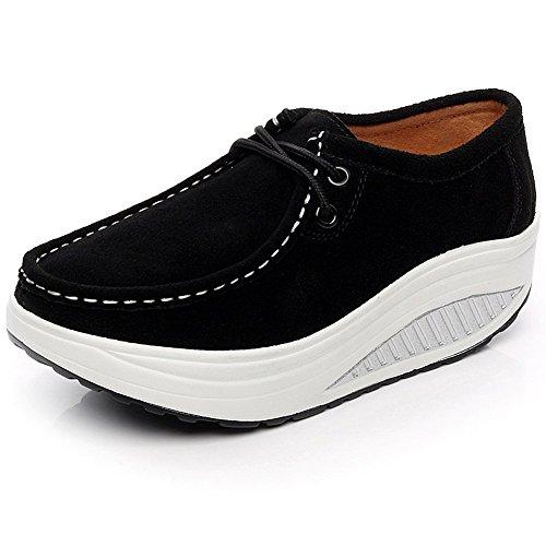 Shenn Mujer Plataforma Cuña Aptitud Ambulante Negro Ante Cuero Entrenadores Zapatos 1061 EU35