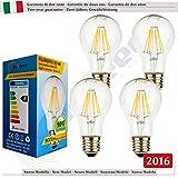 SunSeed, Garantie de deux ans, 4 X E27 8W Ampoule Standard à Filament LED en Saphir A60 AC85-265V Blanc Naturel 4000K 900 Lumens 300° Alimentation à commutation
