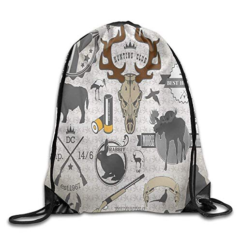 VYPHN Wildlife Theme Vintage Graphic Labels Ammunition Moose Elk Rabbit Drawstring Gym Sack Sport Bag for Men and Women