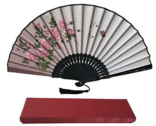 Tinte Art Handheld Fan mit Einem Box und Eine Tasche für Damen Herren Mädchen Schwarz und Weiß mit Silber Touch bis Durable Falten Hand Fan Seide Stoff, Glitter Roses Ia11