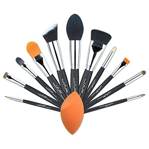 Sac à Fermeture éclair En Toile+Pinceaux Maquillage x 12 Pcs----HUI.HUI Pinceaux Sets Maquillage Brosse Make Up Pour Beauté Premium Fondation Mélange Blush Les LèVres Yeux Visage Cosmétiques (Noir)
