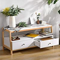 BTM Modern Wood Coffee Table with Drawers, Simple Style Living Room Table with Pine Wood Legs, Wood TV Unit, Size: Depth 40cm, Hight 45 cm Width: 100CM