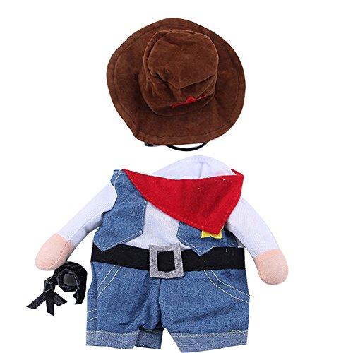 Jeans Mit Katze Kostüm - Cutogain Haustier Kleidung Katze Hund Cosplay Cowboy Funny Kostüm mit Hut Puppy Jean Fell Party Kleid