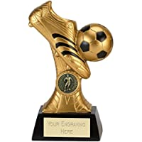 Womack Graphics 6.25 inch (16cm) Golden Venture Boot & Ball Resin Trophy Award with Free Engraving upto 50 letters A4016A