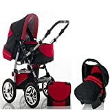 "15 teiliges Qualitäts-Kinderwagenset 3 in 1 ""FLASH"": Kinderwagen + Buggy + Autokindersitz – all inklusive Paket in Farbe SCHWARZ-ROT"
