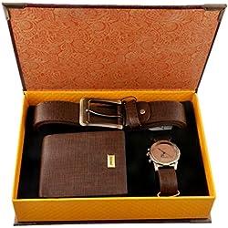 Souarts Mens Artificial Leather Quartz Analog Wrist Watch Belt Wallet Gift Christmas Gift Brown