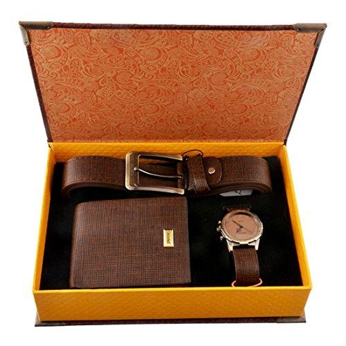 Souarts Herren Geschenkset mit Armbanduhr Geldbörse Gürtel Geschenkset für Herren Braun