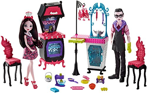 Mattel Monster High Monster High FCV75 Familie Vampire Küche Spielset mit Puppe (2 - Puppe Küche