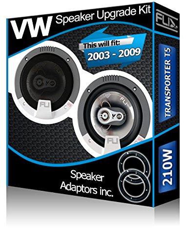 Porte Avant pour VW Transporter T5 Orateurs FLI Haut-parleurs de Voiture + Adaptateur gousses 210 W