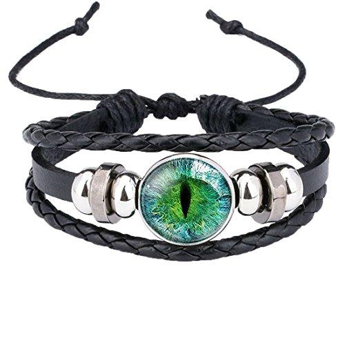 Caimeytie Kind Manschetten Armbänder Leder Verstellbar Zubehör Auge Grün