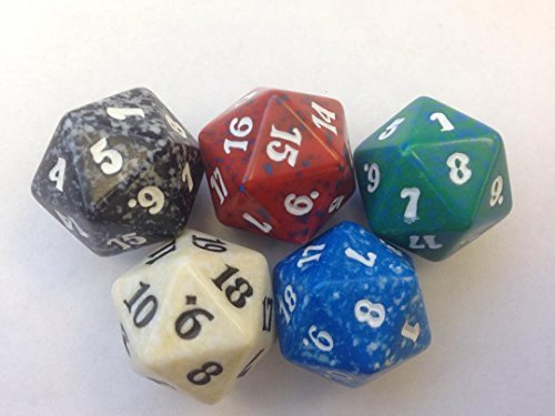MTG Spindown D20 Life Counter - Set of 5 Colors Lot (White, Blue, Black, Red, Green) by Magic: the Gathering