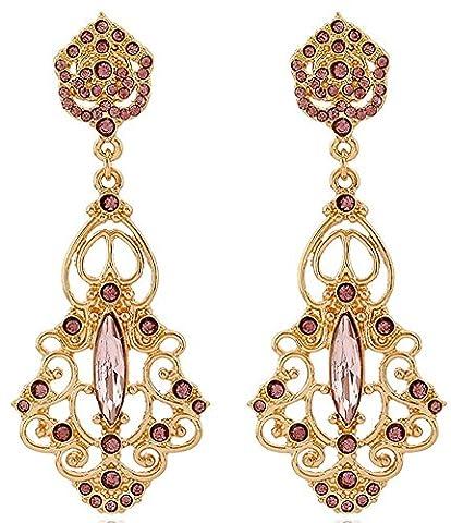 SaySure - Style Austrian Crystal Pink Gem Drop Earrings